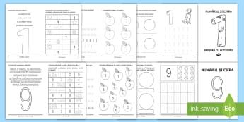 Broșurile numerelor 1-9 Pachet cu materiale - numere, cifre, clasa pregătitoare, broșuri, activități, jocuri, matematică și explorarea mediu