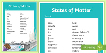Year 4 States of Matter Vocabulary Poster - posters, science