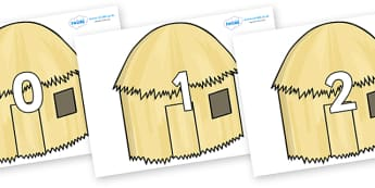 Numbers 0-31 on Straw houses - 0-31, foundation stage numeracy, Number recognition, Number flashcards, counting, number frieze, Display numbers, number posters