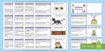 Lanyard Sized Idioms: Body Parts Cards - apple of my eye, head screwed on, eyes in the back of your head, apple of my eye, eyes peeled, keep