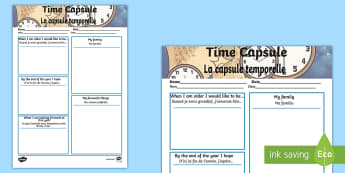 Time Capsule Transition Worksheet / Activity Sheet - English/French - Time Capsule Transition Writing Frame - writing frame, time capsule, worksheet, transition writing f