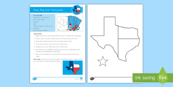 Texas Flag Craft Instructions - Texas Independence, Texas History, State Flag, State History, Social Studies, Cutting Skills, Displa