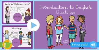 A1 Presentación con audio: Los saludos en inglés – Ingles - greetings, saludos, how are you, hello, hola, qué tal, inglés, saludar, prguntas, preguntar