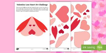 Valentine's Day Love Heart Collage Activity - Valentine craft art, love hearts, hearts, shape, collage, art, valentines, valentines day, valentine