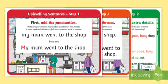 KS1 Uplevelling Sentences Display Posters - uplevel, edit and improve, subordinating conjunctions, adding extra detail, double adjectives, 2A se