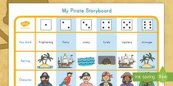 Pirate Themed Story Writing Activity - pirate. story, writing, storyboard, vocabulary, key words, fiction, visual aid