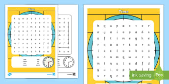 Time Word Search - NI KS1 Numeracy, time, word search, home learning, time topic vocabulary