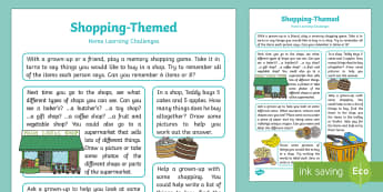 Shopping-Themed Home Learning Challenges Reception FS2 - EYFS, Early Years, homework, home learning, Home School Links, shopping, shops, supermarket, money,