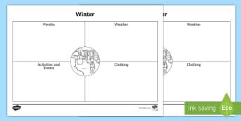 Winter in Australia Activity Sheet - Winter in Australia Activity Sheet  - Spring, Australia, Seasons, Weather, thinking, brainstorm, voc