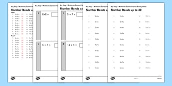 KS1 Arithmetic Content Practice Activity Sheet Pack Number Bonds to 20 - Maths, KS1, Key Stage 1, Arithmetic, Number bonds, addition, subtraction, facts, worksheet