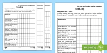 First Level Guided Reading Questions Assessment Tracker - Guided Reading, First level, Reading, Tracker, Assessment, Literacy, Reading Assessment, Reading tra