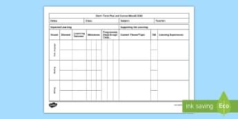New Language Curriculum Short-Term Planning Template - New, Primary Language Curriculum,planning, oral, writing, reading,Irish