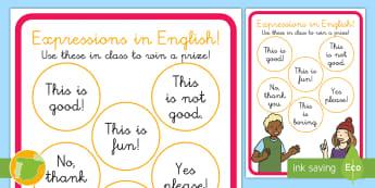 A1 Póster DIN A4: Expresiones en inglés - basic phrases, lengua extranjera, inglés, english, decoración, ,Spanish-translation