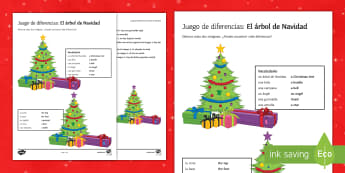 Christmas Tree Spot the Differences Activity Sheet Spanish - reading, writing, creative, worksheet, look, spot