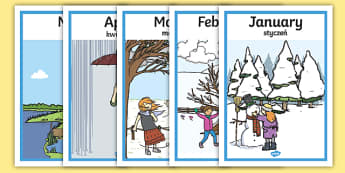 Months of the Year Seasons Posters English/Polish - Months Of The Year Seasons Posters - month, year, season, weather, waether, months of the yearenglis