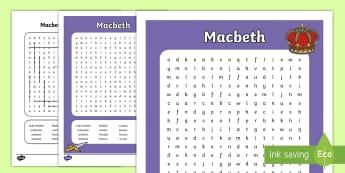 Macbeth Word Search - - Macbeth, Word Search, William Shakespear, play,