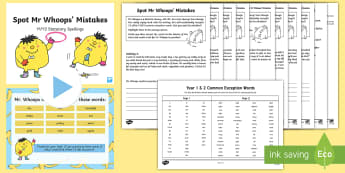 Spot Mr Whoops Mistakes Y1Y2 Common Exception Words Spelling Pack - Requests KS2 English, Mr Whoops, spelling, statutory spelling list, Y2, Y1, Year 1, Year 2, mistakes