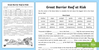 The Great Barrier Reef at Risk Cloze Activity Sheet - Queensland, Australian landmark, Ecosystem, comprehension, guided reading,worksheet