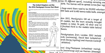 Rio 2016 and the British Paralympics Team Fact Sheet - Rio, Olympics, 2016, Team GB, United Kingdom, medals, Olympians, Great Britain