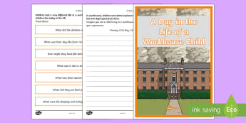 A Day in the Life of a Workhouse Child Worksheet / Activity Sheet - KS2 Workhouses, writing, a day in the life, diary entry, workhouse children, year 3, year 4, year 5,