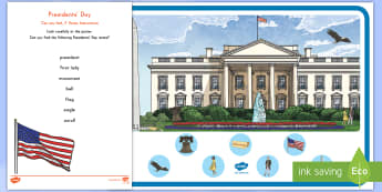 Presidents' Day Can You Find...? Poster and Prompt Card Pack - Presidents' Day, presidents, usa, america, events, celebrations