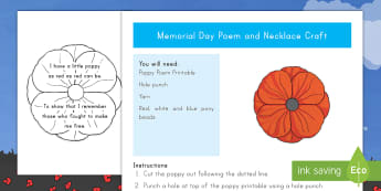 Memorial Day Poem and Craft - Memorial Day, poetry, poppies, poppy, usa events, us events, remembrance,