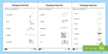 Changing Materials Word and Picture Matching Activity Sheet - ACSSU018, changing shape, twisting, scrunching, bending, physically changed ,Australia