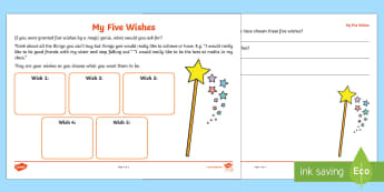 My Five Wishes Worksheet / Activity Sheet - ambitions, emotions, relationships, aspirations, young people, worksheet