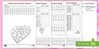 KS2 Valentine's Day Codebreaker Differentiated Activity Sheets - worksheet, Y3, Y4, Y5, Y6, problem-solving, reasoning, number