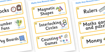 Sunshine Themed Editable Maths Area Resource Labels - Themed maths resource labels, maths area resources, Label template, Resource Label, Name Labels, Editable Labels, Drawer Labels, KS1 Labels, Foundation Labels, Foundation Stage Labels, Teaching La