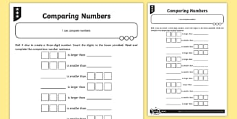 Comparing Numbers Activity Sheet - Number and Place Value, maths mastery, year 3, fun maths, hundreds, tens, ones, number value, compar