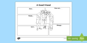 Year 3 Good Friend Activity Sheet - first week back, new school term, all about me, friendship, PSCHE, worksheet