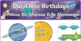 Editable Birthday Space-Themed Display Pack - Space, Rā Whānau, months
