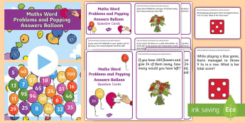 KS1 Maths Word Problems and Popping Answers Balloon Activity - word problems, year 1 maths, year 2 maths, using and applying, maths challenge, whole class maths ac