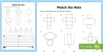 Match the 3D Net Activity Sheet - 3d, net, worksheet, match, sheet