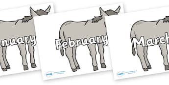 Months of the Year on Donkeys - Months of the Year, Months poster, Months display, display, poster, frieze, Months, month, January, February, March, April, May, June, July, August, September