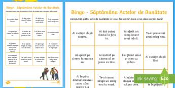 Bingo cu tema: Săptămâna actelor de bunătate - acte de bunătate, română, bingo, jocuri, materiale, dezvoltare personală, comportament pozitiv,R