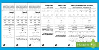 Year 2 Maths Comparing Measures Homework Worksheet / Activity Sheet - mass, weight, kg, inequalities, heavier, lighter, worksheet, problem, solving