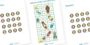 Goldilocks and the Three Bears Snakes and Ladders - goldilocks, three bears, bears, story, book, snakes and ladders, 1-100, editable, game, activity, numeracy, maths, calculation, CVC