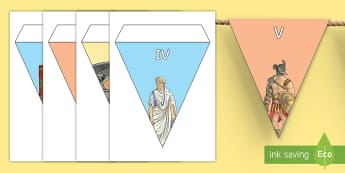 Roman Numeral Display Bunting  - numbers, roman empire, year 3,