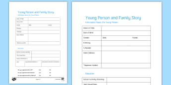 Young Person and Family Story Assessment Record Template - Young People & Families Case File Recording, referral, chronology, contents page,buddy system, safeg