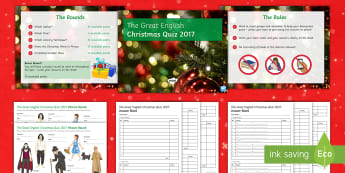 The Great English Christmas Quiz 2017 Activity Pack - Christmas, seasonal, festive, quiz, literature, end of term activity, team game, group activities.