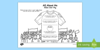 All About Me Rugby T Shirt Activity Sheet English/Afrikaans - sport, new, begin, beginning, favourite, write, skryf, EAL