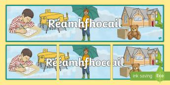 Reamhfhocail Display Banner - -Irish - ROI, Irish, Gaeilge, prepositions, display banner, display, grammar, gramadach, réamhfhocail,Irish,