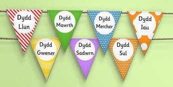 Baneri Bach Dyddiau'r Wythnos - displays, display, banners