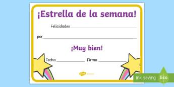 Diploma: Estrella de la semana - diploma, diplomas, premio, premios, estrella, semana, estrella de la semana, ,Spanish