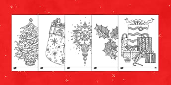 Christmas Themed Mindfulness Coloring Activity Sheets - mindfulness, activity, coloring, Christmas, worksheet