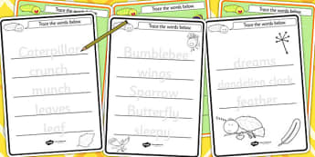 Trace the Words Worksheet to Support Teaching on The Crunching Munching Caterpillar