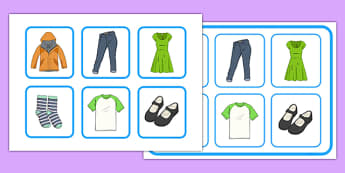Clothes Matching Cards and Board - clothes, matching cards, board, matching