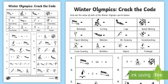 LKS2 Winter Olympics Crack the Code Activity Sheet - pyeongchang, times table, times table facts, multiplication, division, halving, doubling
